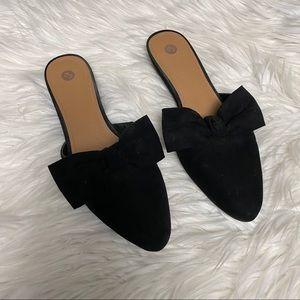 Dress Barn Black Suede Bow Slides 9